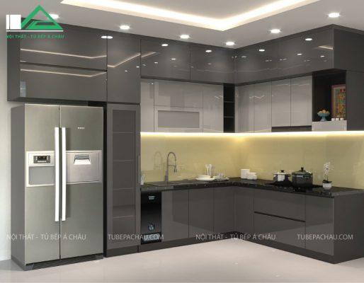 Đây là hình ảnh tủ bếp acrylic, phân biệt bởi chất liệu bề mặt sáng bóng, hiện đại