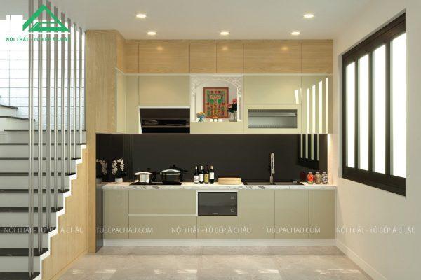 Tủ bếp acrylic màu đồng